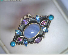 .925 STERLING SILVER NICKY BUTLER RING W/AMETHYST, BLUE TOPAZ, TURQUOISE, AGATE