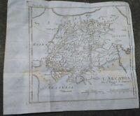 1790 GRECIA: BELLA CARTA GEOGRAFICA MEGALOPOLI, TEGEA, ARCADIA, PELOPONNESO