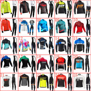 Mens Cycling Jersey Bib Pants Set Long Sleeve Bicycle Outfits Bike Sports Suit