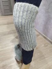 Women crochet knit ribbed Leg knee warmers winter boot sheep wool Russian