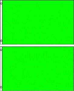 (2 pack lot) 3x5 Neon Green Solid Plain Blank Color Flag 3'x5' Banner Grommets