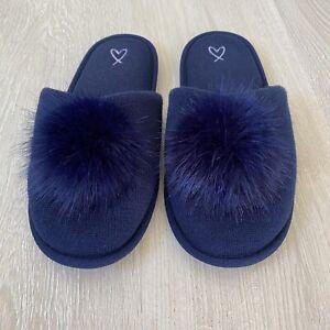 Victoria's Secret Navy Blue Pom Pom Cozy Slippers Size Medium
