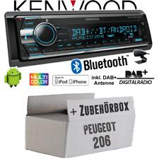 Peugeot 206 Autoradio Radio Kenwood DAB+ Bluetooth CD USB Android Einbauset PKW