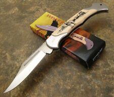 Wolf Art Scrimshaw Style Handle Lockback Folding Hunting Knife