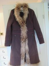 GLAMOROUS VINTAGE TAIFUN LONG BROWN BOHO COAT WITH RACCON FUR TRIM