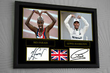 "Lewis Hamilton Mo Farah Framed Canvas Print Signed ""Great Gift/Souvenir"""