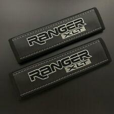 Ford Ranger XLT black seat belt shoulder pads covers Grey embroidery 2PCS