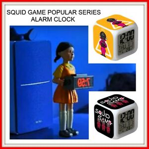 Squid Game Series Clock Alarm Light Wake Doll Gift Up Night Red Fire Bullets