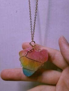 Opal and Peach Rainbow Crystal Quartz Necklace (original)