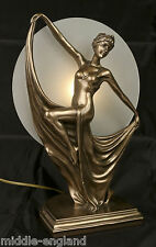 Table Lamp Art Deco 38cm Dancing Lady Figurine Glass Shade Bulb *buy 2 Save 10
