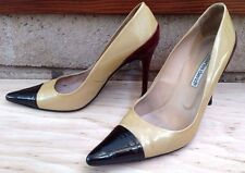 CHARLES DAVID Size 8 B Patent-Leather Color-Block Pump Pointy-Toe Stiletto