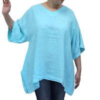 Match Point Linen Kimono Tunic NWT Aqua   Oversized  Plus Size 0X 1X 2X