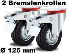2 Lenkrollen 125mm Transport-Rolle drehbar lenkbar Stahl-Felge für Außen-Breich