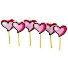 6 Heart Shape Candles On Sticks Tea Lights Weddings Parties Romance Valentines