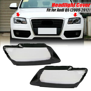 Pair Left+Right Glass Headlight Lens Clear Lampshade Cover For Audi Q5 2009-2012