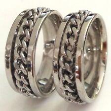 316L Acero Inoxidable oro y plata 2-Tone Spinning Anillo de bodas anillo tamaño 5-14