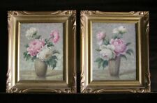 Pair Floral Still Life Oil Paintings by Listed American Artist Victor Petry