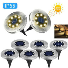 8 LED Solar Disk Lights Ground Flat Garden Lawn Deck Path Ou  TDUK