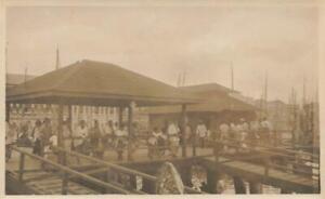 c1918 ORIGINAL Photo PENANG JETTY Ethnic men Port STRAITS SETTLEMENTS Malaysia