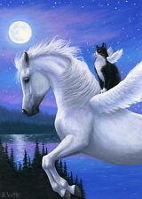 Pegasus horse tuxedo cat moon lake fantasy limited edition aceo print art
