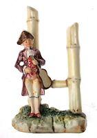 Antique Figurine Spill Vase Violin Player & Bamboo c1880