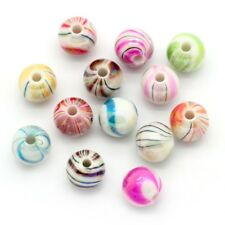 100 x 8mm Mixed Acrylic Candy Striped Round Bubblegum Beads AB