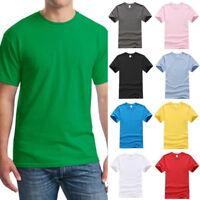 Stylish Mens Summer Cotton Short Sleeve Crewneck Basic Tops Shirts T-Shirt //
