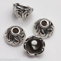 Lots 7x4 mm-25 PCS Hollow Tibetan Silver Beads Caps Jewellery Craft Findings