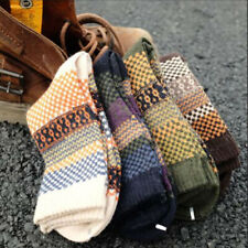 Men's Thicken Warm Wool Socks Multi-color Check Thermal Casual Socks 1 Pair