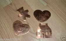 4 Punched Copper Picture Bear House 2 hearts