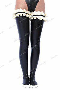 3961 Latex Rubber Gummi Maid Ruffles Stocking thigh-highs customized socks 0.4mm