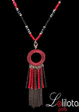 Luxus Endlos Kette Halskette Facette Koralle  Perlen LoL Paris Facette
