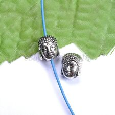 10Pcs Silver Gold Copper Metal Buddha Head Bracelets Charms Beads 10X8MM B880