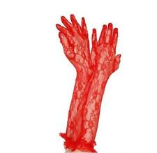 Queen of Darkness Long Red Lace Gloves, Opera, Burlesque