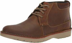 Mens Clarks Vargo Mid Chukka Boot - Dark Tan Leather, Size 8.5 M [261 36671]