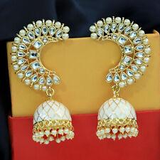 Indian Bollywood Pearl Meenakari Chand Bali Jhumka Jhumki Earring Wedding Jewel