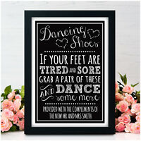 PERSONALISED Dancing Shoes Chalkboard WEDDING SIGN Dancing Feet Flip Flops Sign