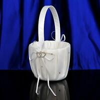 Ivory Satin Flower Girl Basket Wedding Ceremony Party Decoration w/ Double Heart