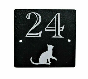 Personalised Square Slate House Gate Plaque Door Number Sign with a Cat Engraved