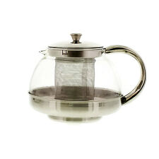 Glass Teapot with Infuser Stainless Steel Filter Leaf Herbal Heat Resistant Lid