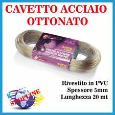 CAVO STENDIBIANCHERIA ACCIAIO OTTONATO RIVESTITO PVC BUCATO PANNI 5mm 150Kg 20mt