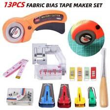 Fabric Bias Binding Tape Maker Kit Binder Foot For Sewing Quilting Set 13pcs