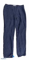Woman's NINE WEST 100% Silk Blue Pants Full Length Bottoms Floral Pattern Size 8