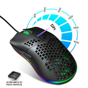 Gamer Adjustable DPI Mouse USB Wired RGB Gaming Mouse Honeycomb Hollow Mouse