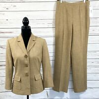 Le Suit Women's 2PC Pant Suit Blazer 3 Buttons Camel Out Of Africa Size 8 NWT