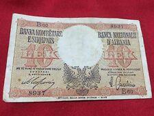 ALBANIA BANKNOTE 10 LEK 1940 ALBANIAN BANKNOTES ITALIAN OCCUPATION ITALY WW2