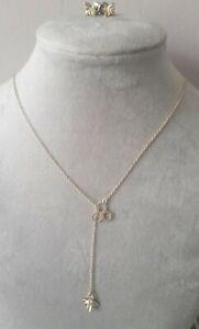 Oliver Bonas Women Bee / honeycomb Silver 925 Stud Earrings Pendant Necklace Set