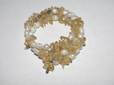 Freshwater Pearl & Natural Polished Citrine Chip Wrap Memory Wire Bracelet