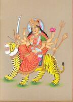 Durga Hindu Goddess Handmade Wall Hanging Painting Cardboard