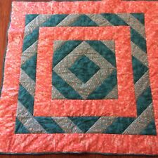 Handmade Coral and Teal lap quilt, fleece backed